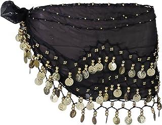 وشاح Amosfun نسائي شيفون متدلي للرقص الشرقي 3 صفوف 128 عملة معدنية حزام للرقص الشرقي (أسود)