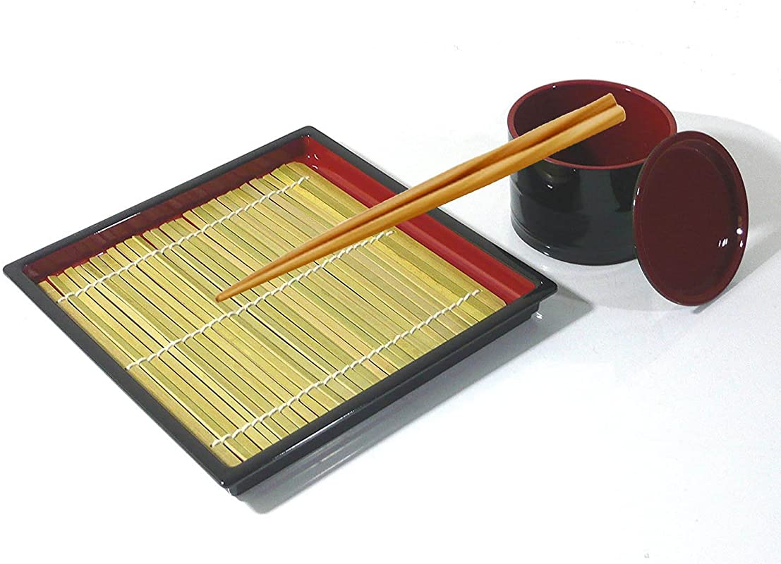 MySushiSet Japanese Square Zaru Soba Noodle Tray With Tsuyu Dipping Cup