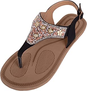 ABSOLUTE FOOTWEAR Womens Summer/Holiday Sandals/Shoes/Flip Flops with Diamante Pattern