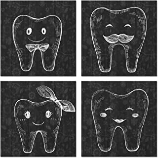 HOMEOART Dental Clinic Wall Decor Teeth Family Black and White Tooth Painting Canvas Prints Dentist Office Decoration Gift Gallery Wrap Ready to Hang 12