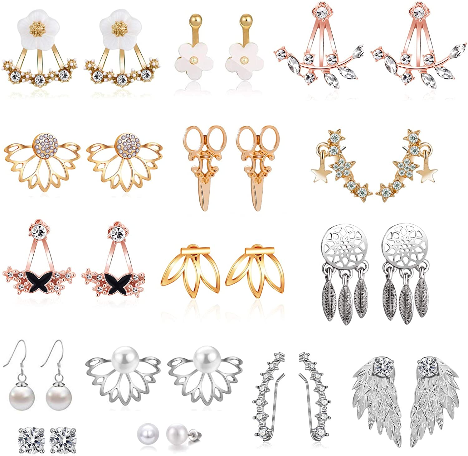 18/21 Pairs Multiple Lotus Flower Ear Jacket Earrings for Women and Girls-Minimalism CZ BarTurquoise Studs-Chic Fashion Front Back Stud Earring Set