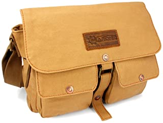 GEARONIC Men's Vintage Canvas Satchel School Military Shoulder Messenger Crossbody Bag