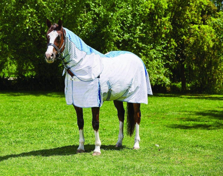 WEATHERBEETA Summer Sheet Combo Neck with Freestyle Tail III Purple blueee Grey 6'9 Horse Rug