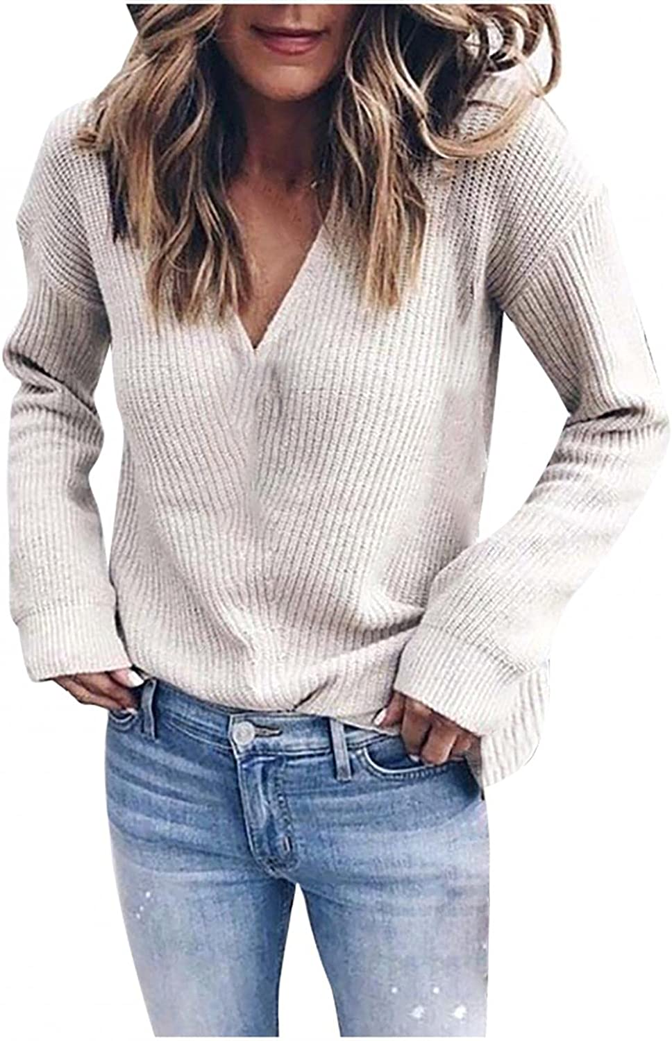 Women Casual Blouses Deep V Neck Long Sleeves Solid Color Knitted Loose Wrap Sweaters Crochet Knit Pullover Tops