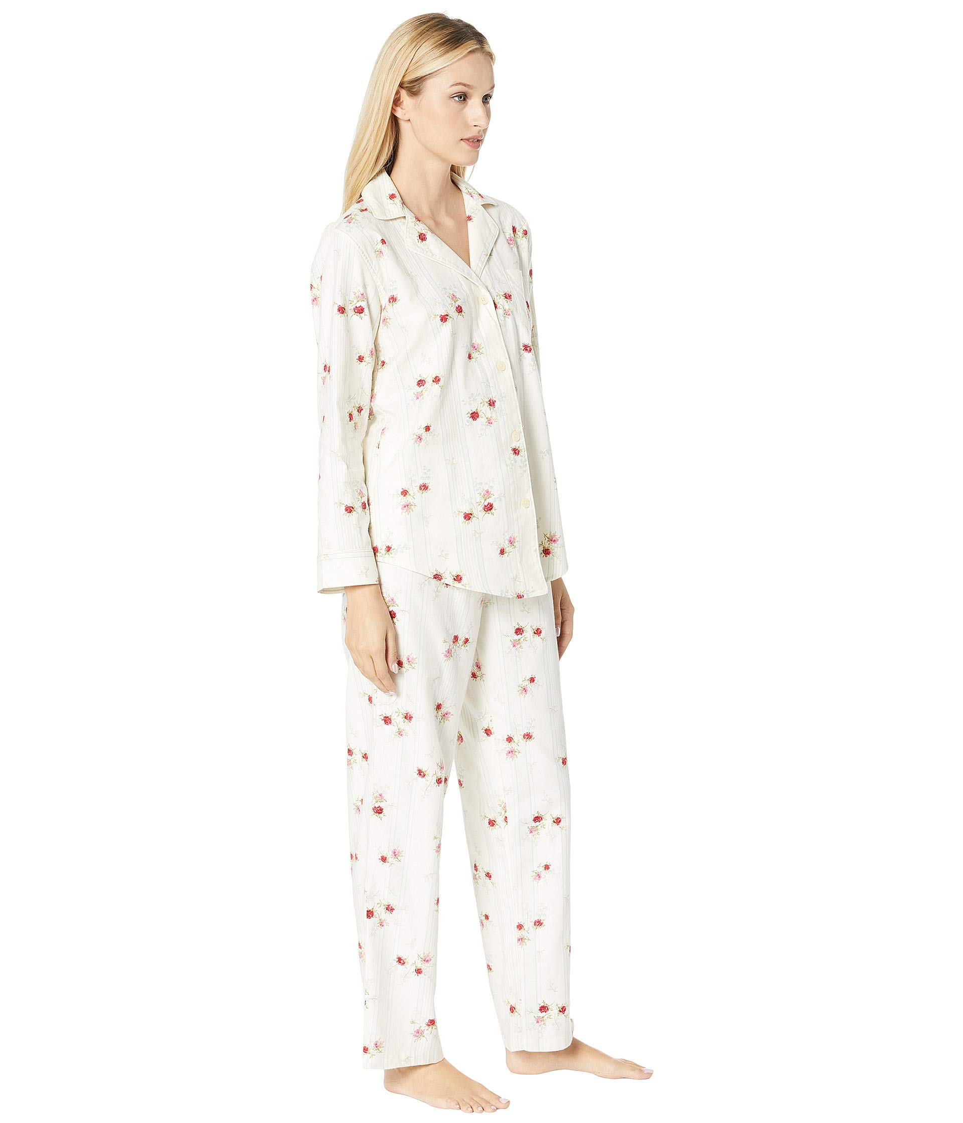 Long Set Ralph Pajama Sleeve Lauren Collar Twill Brushed Notch Ivory Floral Classic tFxwzqw