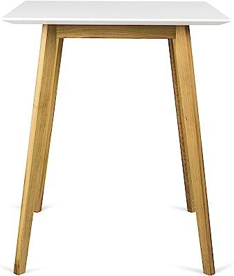Tenzo BESS Table de Bar, Plateau en Panneaux MDF ép. 25 mm laqués. Piètement Massif huilé, Blanc/chêne, 95 x 80 x 80 cm (HxLxP)