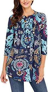 Women's Paisley Floral Print V Neck Tunic 3/4 Sleeve Blouse Shirt Tops