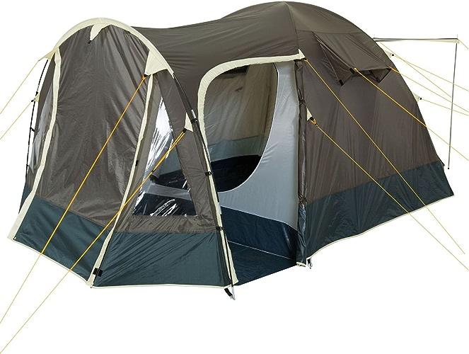 Tente igloo avec abside pour 3-4 personnes - Khaki vert foncé