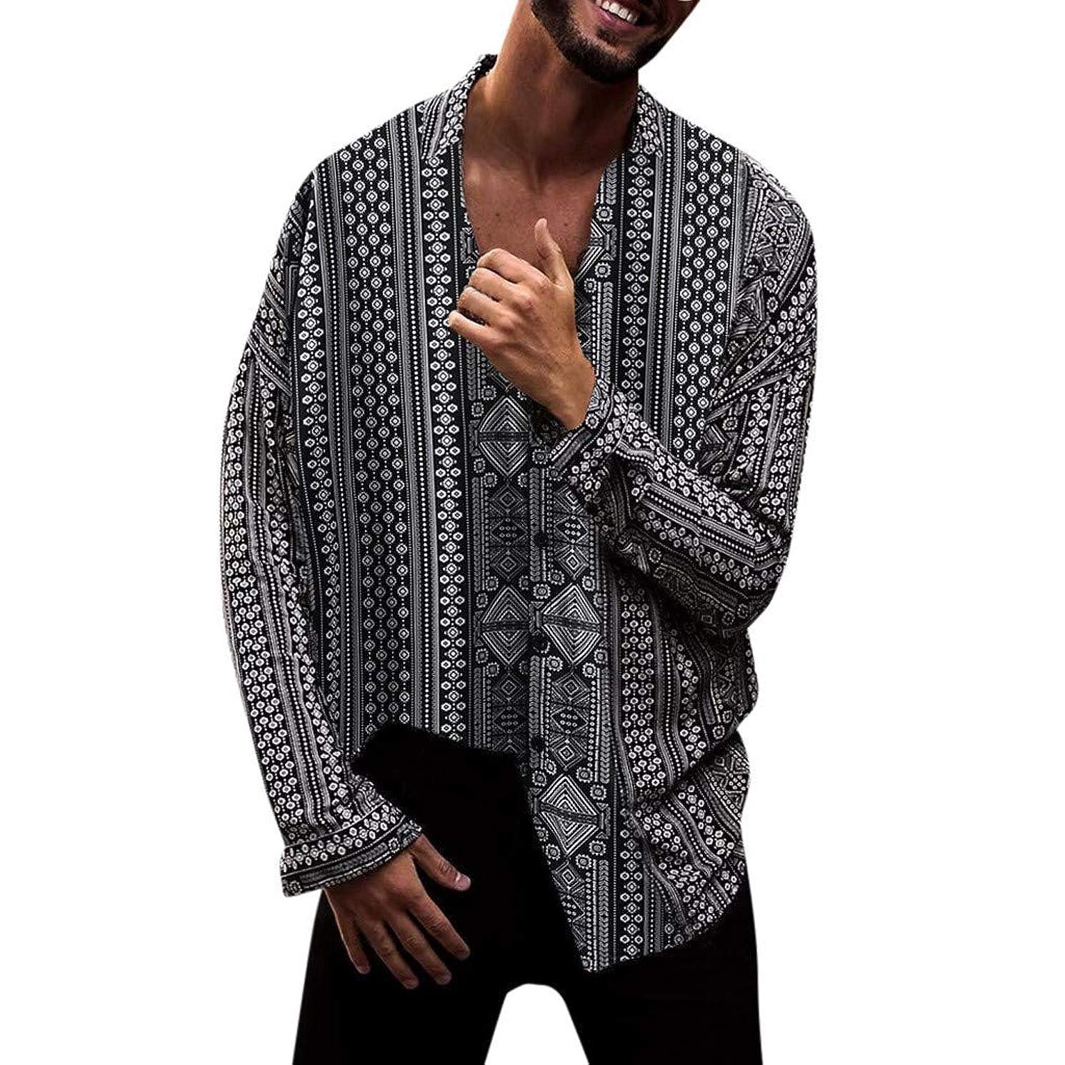 Swyss Men's Casual Shirts Long -Sleeve Lightweight Button Down Shirt Ethnic Style Fashion Print Beach T Shirts Tops Blouse