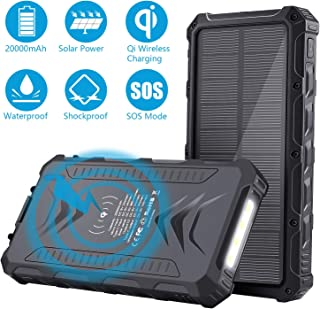 Solar Power Bank, Uplayteck Qi Wireless Charger 20000mAh Portable Power Bank with 4 Outputs & Dual Inputs Type-C, LED Flashlight, Rainproof External Backup Battery for Hiking Camping Outing