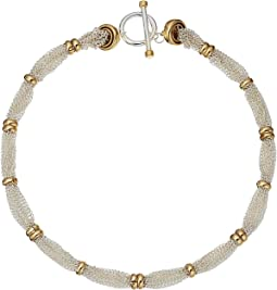 "Back to Basics II 18"" Fine Chain and Ring Two-Tone Necklace"