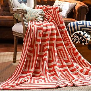 [QIFENGDIANZI]毛布 もうふ 掛け毛布 ジャカードライン 綿 北欧風 ふわふわ 軽量 軽い 夏用 エアコン お昼寝 冬暖かい 洗濯可 静電防止 車用 旅用 抗菌・防臭・防ダニ プレゼント 男女兼用 オレンジ 130X160cm