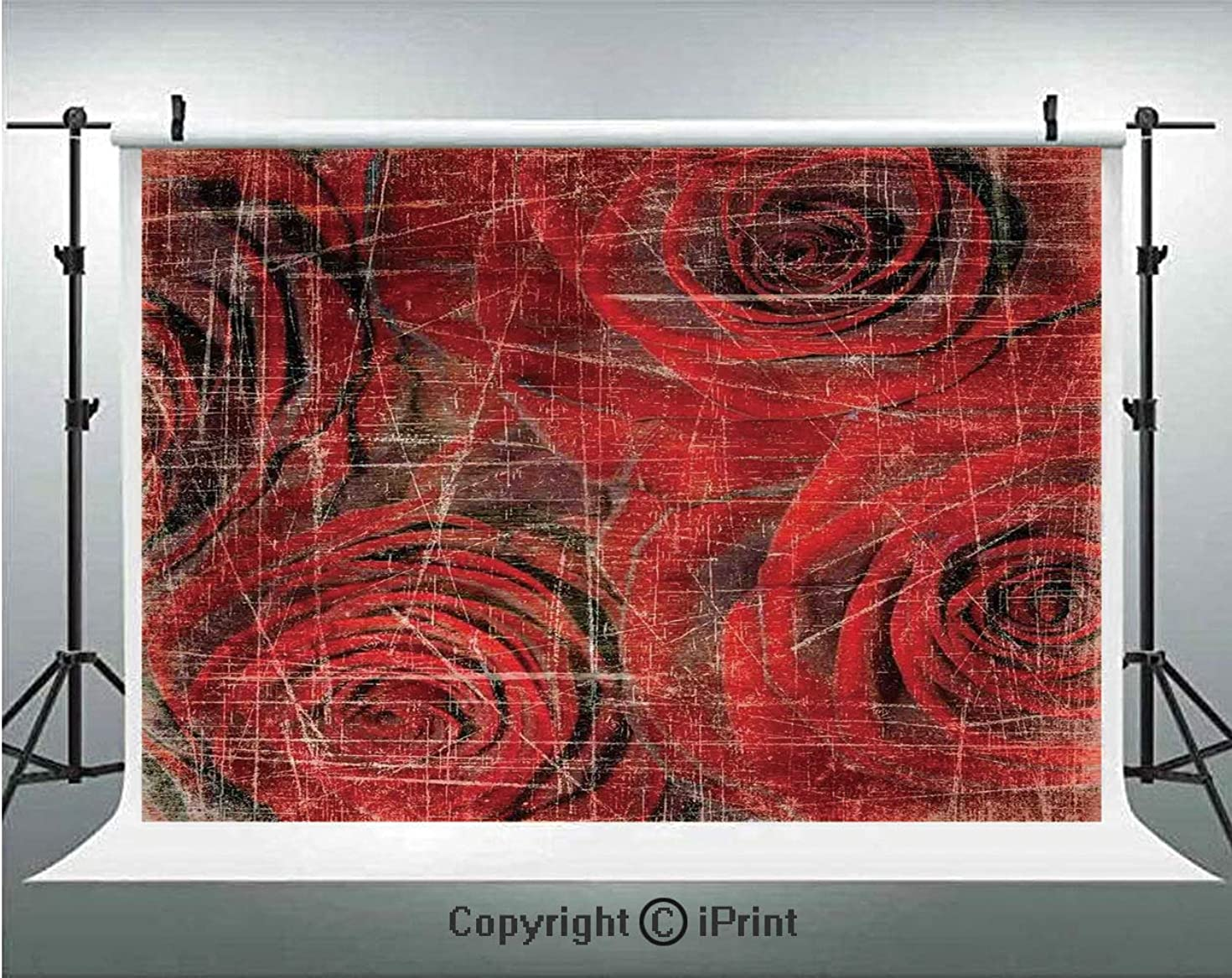 Roses Decorations Photography Backdrops Abstract Grunge Artwork with Roses Scratches Old Vintage Romantic Memories Theme,Birthday Party Background Customized Microfiber Photo Studio Props,10x10ft,Red