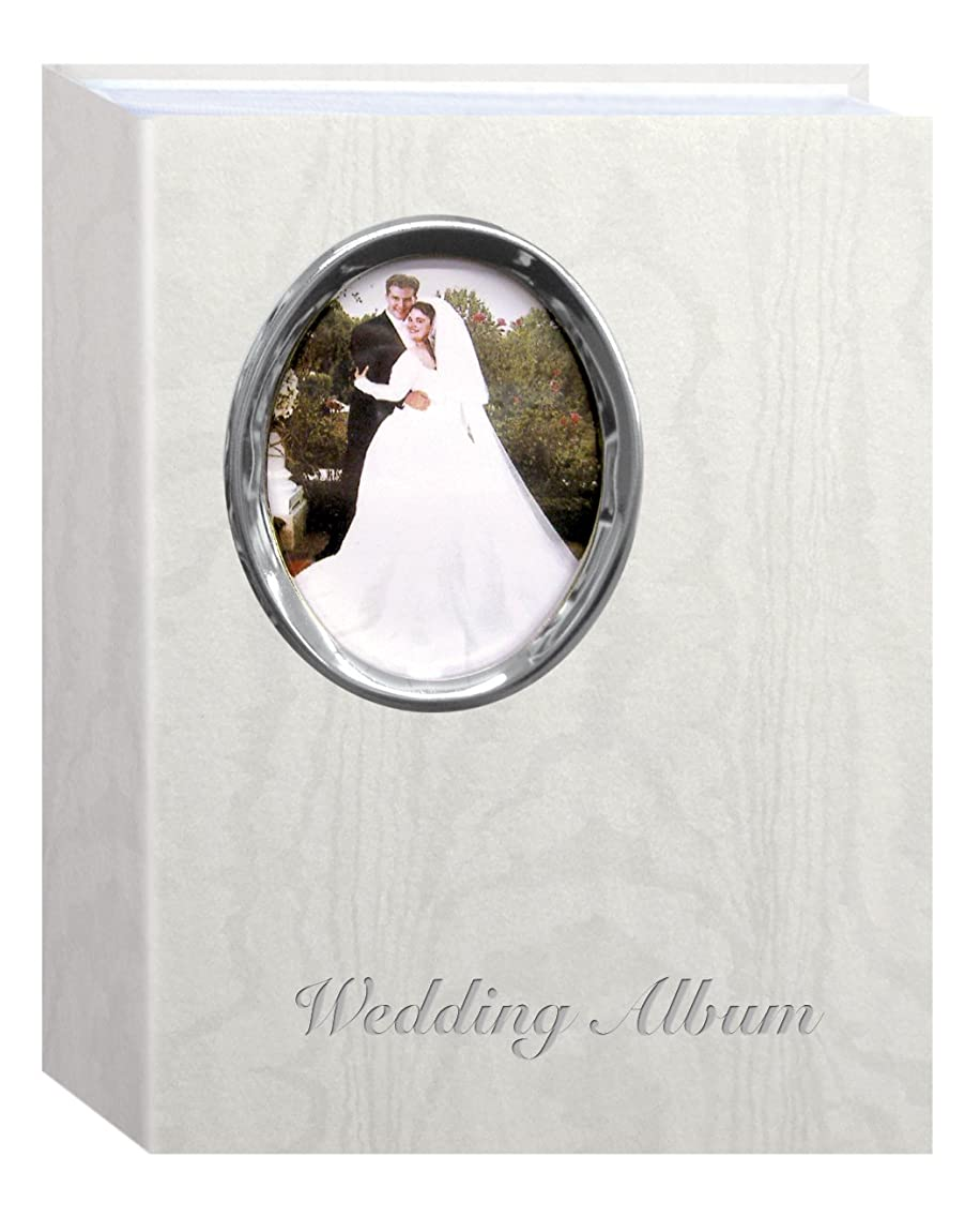 Pioneer Photo Albums 200 Pocket Ivory Moire Cover Album with Silver Tone Oval Frame and Wedding Album Text for 4 x 6-Inch Prints