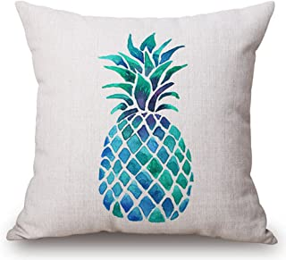 Watercolor Blue Fresh Fruit Pineapple Cotton Linen Throw Pillow Case Cushion Cover Home Office Decorative Square 18 X 18 I...
