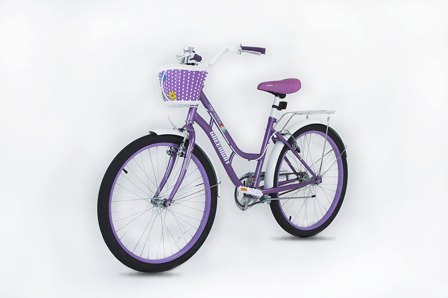 Princess Girls bike- purple 20 inch wheel Bicycle with basket - Suitable for AGE 5-12 YEARS OL D- Height 3' 10  - 4' 6