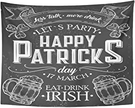 Emvency Tapestry Happy St Patrick Day of Irish Holiday with Lettering Drawing for Pub Bar Clover Beer on Chalkboard Home Decor Wall Hanging for Living Room Bedroom Dorm 60x80 Inches