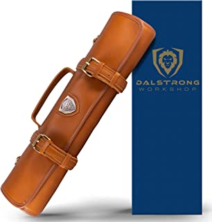Dalstrong - Vagabond Knife Roll Full & Top Grain Brazilian Leather Roll Bag - 16 Slots - Interior and Rear Zippered Pockets - Blade Travel Storage/Case (California Brown) - Large - Up to 20