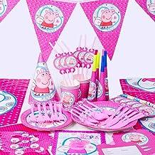 مجموعة أدوات مائدة للاستعمال مرة واحدة من الخنزير، ذات جودة عالية، ديكور مشهد، لأعياد الميلاد، حفلات الزفاف، الحفلات (6 أش...