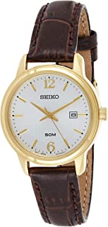 Seiko Women's White Dial Leather Band Watch, SUR658P1