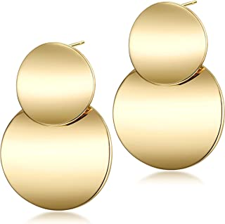 Wistic Stainless Steel Hoop Earrings Round Dangle Gold Plated Fashion Polished Drop Earrings for Women Girl