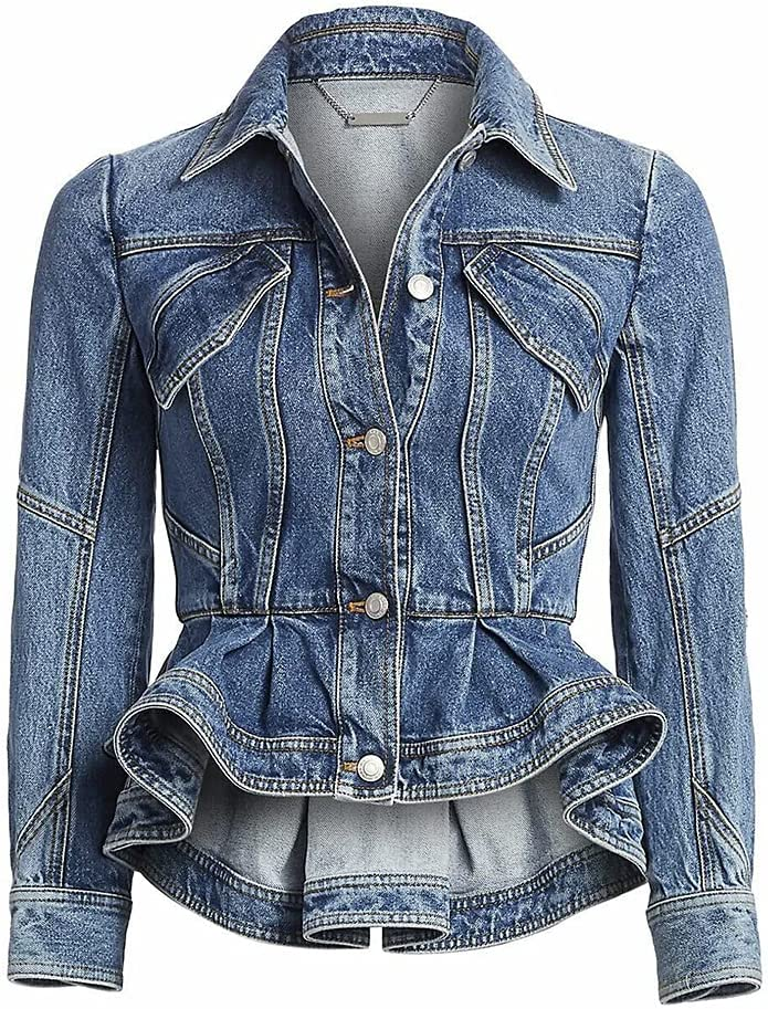 Peplum Denim Jacket, Retro Short Denim Jackets, Light Blue Jean Coats (L)