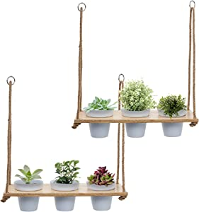 Hanging Herb Garden Set 2 Wall Shelf with White Pot Set, Wood Hanging Planter, Farmhouse Plant Decor, Rustic Succulent Hanger, Patio, Porch, Balcony, Boho Shelves for Wall, Multi Tier Vertical Stand