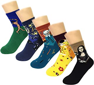 Wrapables Famous Painting Masterpiece Artwork Crew Socks (5 pairs)