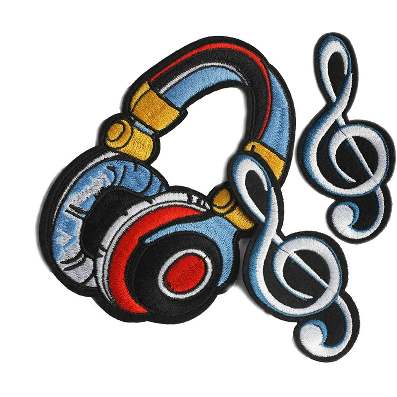 3 Pcs Headset Earphone Music Note Iron on Patches Embroidered Patch for Clothes Applique Sticker Badge