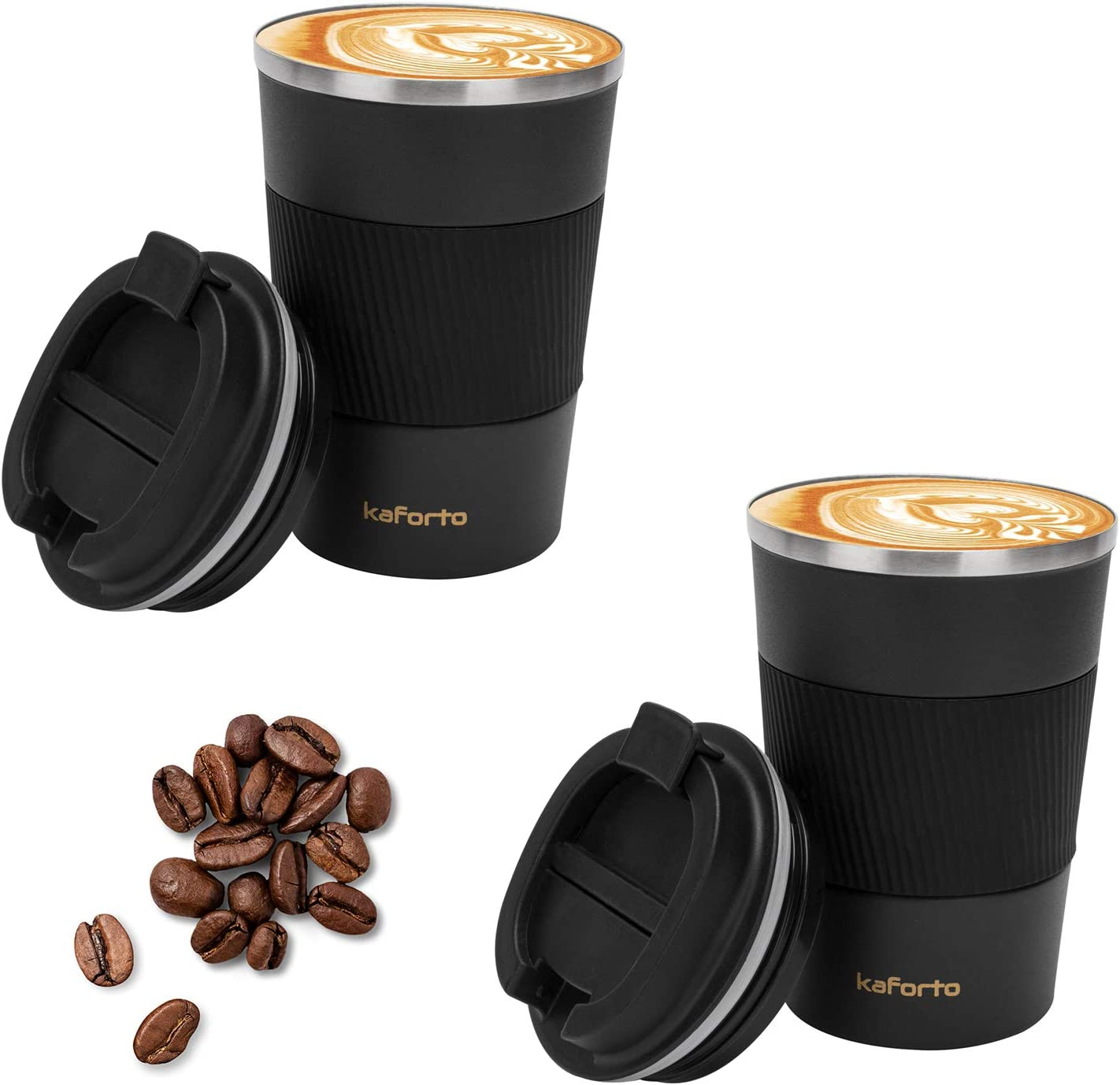 Coffee Travel Mug Stainless Steel Insulated Coffee Cup Double Wall Vacuum Insulation Coffee Tumbler with Leakproof Screw Lid Reusable Thermal Cup for Hot / Iced Beverage -380ml/12oz, Black,2 Pack