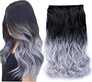 Beautyself Clip in Hair Extensions Ombre 2 Tone Black to Blue Grey One Piece Curly Hair Pieces for Women(#1BT3904)