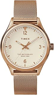 Timex Women's Waterbury Traditional 34mm Watch – Rose Gold-Tone & Cream with Rose Gold-Tone Stainless Steel Mesh Bracelet