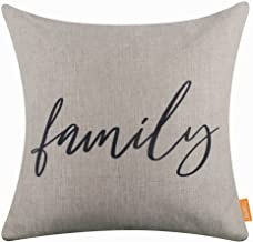 LINKWELL 18x18 Simple Black World Family Burlap Pillow Cover Cushion Cover CC1483