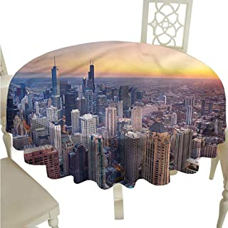 ScottDecor Wrinkle Free Tablecloths American,Chicago City Aerial View Dinning Tabletop Decoration Round Tablecloth D 70