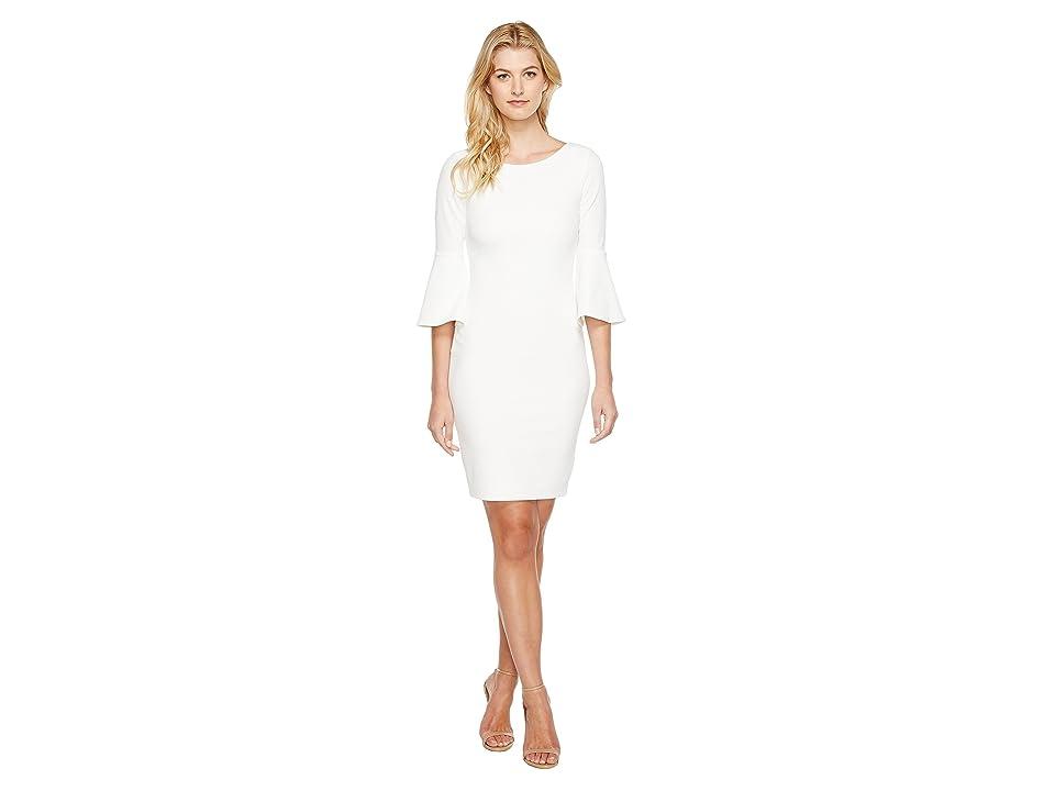 Calvin Klein Bell Sleeve Sheath Dress CD7C133E (White) Women