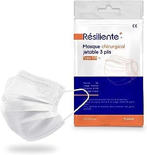 RÉSILIENTE® - Sachet de 10 Masques Chirurgicaux Blancs Type IIR - Norme CE EN14683:2019 - Masque 3 Plis Jetable - Usage Médical- (10 Unités)