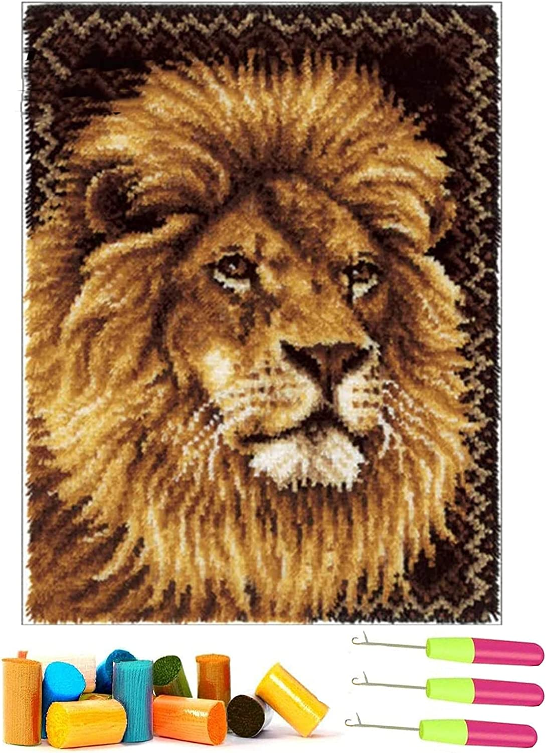 XIANGYUNLAI Adult Latch Selling and selling Spring new work Hook Rug Kits Lion Pattern 3D Ca Printed