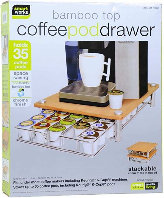 Bamboo Top Coffee Pod Drawer For Keurig Compatible Single Serve K Cups Holds 35 K Cups