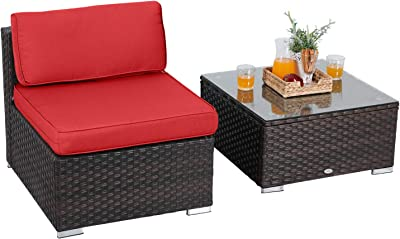 Pleasant Amazon Com Best Choice Products Wicker Curved Corner Patio Gamerscity Chair Design For Home Gamerscityorg