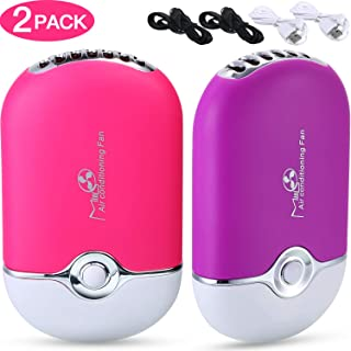 Mudder 2 Piezas Ventilador Secador Pestañas Mini Ventilador Portátil Soplador de Aire Acondicionado USB Mini Herramienta de Ventilador Seco para Extensión de Pestañas (Púrpura y Rosa Roja)