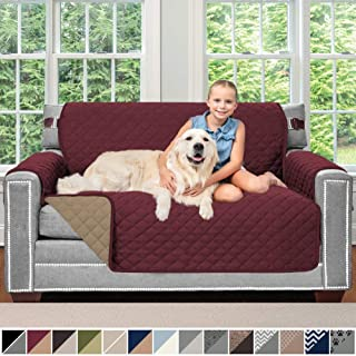 Sofa Shield Original Patent Pending Reversible Loveseat Slipcover, 2 Inch Strap Hook, Seat Width Up to 54 Inch Washable Furniture Protector, Couch Slip Cover for Pets, Kids, Love Seat, Burgundy Tan