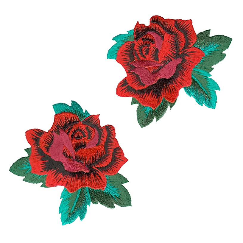 VEGASBEE? ROSE RED ROSES EMBROIDERED PATCH IRON-ON APPLIQUé FASHION SET DECORATIVE PATCHES
