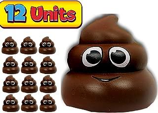 JA-RU Squishy Poop Emoji Stress Relief Fidget Sensory Toy (12 Pack Brown) Soft Delicious Relaxing Slow Rising Poo Emoji I Plus 1 Bouncy Ball I Item #6430-12p-Brow