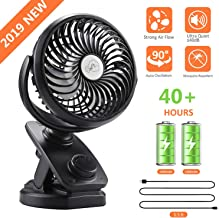 COMLIFE F170 Clip On Stroller Fan, Mini Portable Desk Fan with Auto Oscillation, 4400mAh Battery Operated Fan, Aroma Diffuser Function, Stepless Speeds Control (Clip Fan)