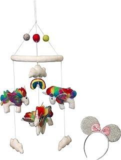Kenza Premium Wool Baby Mobile for Boys and Girls Nursery Decor Soothing (Unicorn, Rainbow)