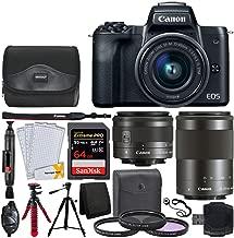Canon EOS M50 Mirrorless Digital Camera + EF-M 15-45mm f/3.5-6.3 is STM & EF-M & 55-200mm f/4.5-6.3 is STM Lenses + 64GB Memory Card + 2X Tripods + Gadget Bag + Hand Grip + USB Card Reader – Full Kit