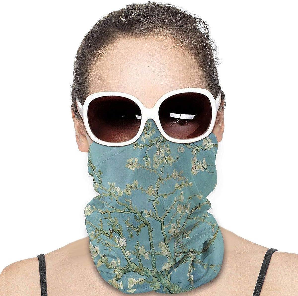 KiuLoam Women Bandanas Face Mask, Van Gogh Almond Flower Tree Neck Gaiter Mask Headband for Men Face Scarf Dust, Outdoors, Sports