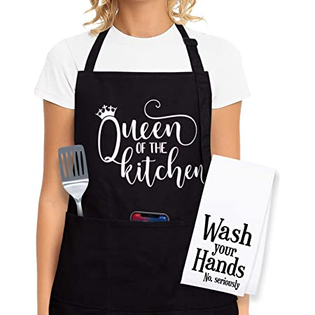 Cooking Aprons For Women - Funny Aprons For Women, Cooking Gifts For Women Who Love to Cook - Kitchen Aprons For Women with Pockets - Mothers Day Gifts, Christmas Gifts for Women, Funny Gifts for Mom