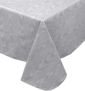 Newbridge Grey Moire Wavy Solid Color Print Heavy Gauge Vinyl Flannel Backed Tablecloth, Hotel Quality Heavyweight Wipe Clean Tablecloth, (60 Inch x 84 Inch Oval)