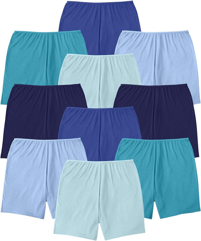 Comfort Choice Women's Plus Size 10-Pack Cotton Boyshort Underwear